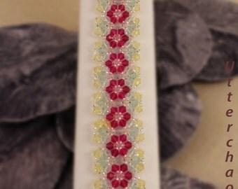 Swarovski crystal bracelet in Fuchsia. Light Azore, and Jonquil (003)
