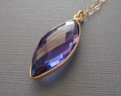 Amethyst Necklace / Natural African Amethyst Bezel /Amethyst Marquise Vermeil / February Birthstone / Purple Gold Necklace // BE16
