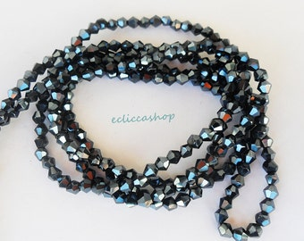 Bead bicone half faceted crystal 4mm anthracite 60 PZ