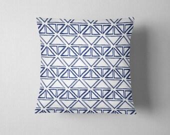 Indigo blue triangle pattern tribal throw pillow