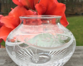 Vintage Cut Crystal Small Vase / Glass Vase