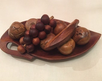 Mid Century Wooden Fruits and Bowl / Vintage Wood Sculpture
