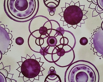 Abstract Purple Original Watercolor Painting