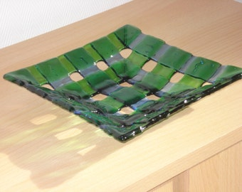1960s woven glass green dish