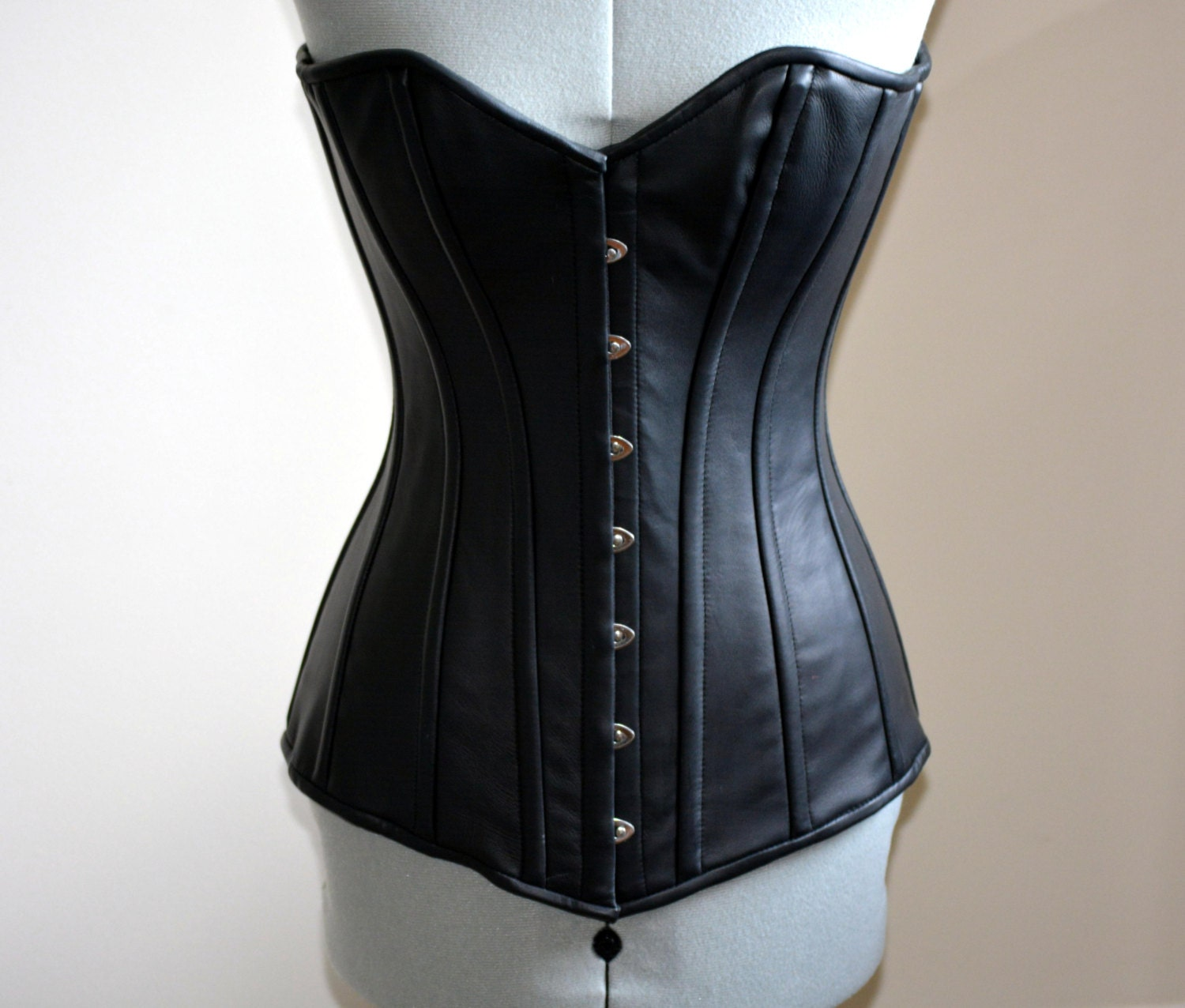 Exclusive long leather corset on steel bones black by ...