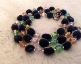Velvet RARE Hawaiian Seeds/ Pink, Green & Gold Round crystals / Exotic Mgambo Seeds/ Necklace and bracelet set/ FREE EARRINGS
