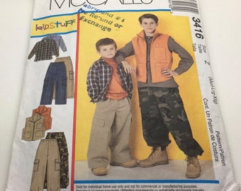 McCall's 3416 Kidsstuff Children's And Boy Shirt Vest Pull - On Pants  Patch Pocket Elastic Waist Cargo Pants Size Medium Large X -Large
