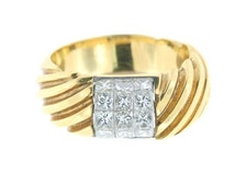 Square Cut Diamonds Ring In 18K Yellow And White Gold