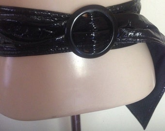 1960's Wide Black Vinyl Belt