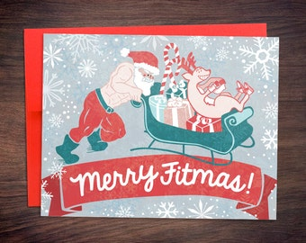 Crossfit Inspired Christmas Cards - Merry Fitmas Santa Sled Push - Fitness Weightlifting Gift Holiday Greeting Card - Gym Gift