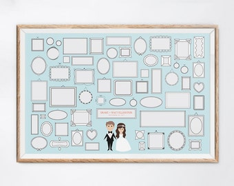 Color-It-In Wedding Guest Book Alternative, Interactive Guest Book, Custom Wedding Guest Book Ideas, Character Wedding Guest Book
