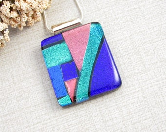Geometric Glass Necklace - Blue, Green, Purple and Pink Fused Dichroic Glass Necklace - Color Block Necklace - Contemporary Glass Jewelry