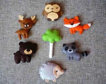 Woodland stuffed animals, woodland decor, forest animals, woodland nursery decor, woodland ornaments, felt animals, animal magnet