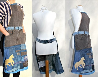 Handmade Upcycled Blue Denim Apron with Vintage jeans Wrap Layering Applique Patchwork unique Apron Yellow Horse Repurposed Denim Cafe owner