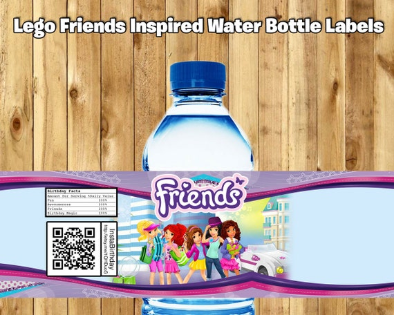 Lego Friends Inspired Water Bottle Labels Lego Friends Water Bottle Wrappers download print Lego Friends Birthday Party Decoration