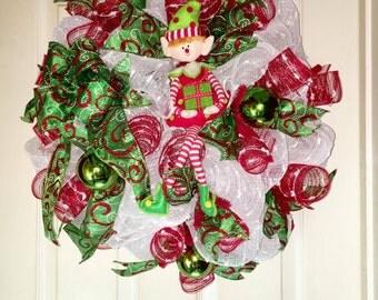 Elf Wreath, Snowball Mesh, Christmas Wreath, Merry Christmas ,Christmas Decor, Fun Wreath, Door Wreath, Wall Decor, Green Christmas Ribbon