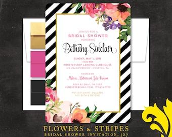 FLOWERS & STRIPES . bridal shower invitation