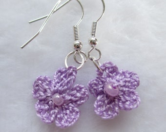 Hand Crocheted Lilac Flower Earrings