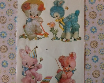 Vintage Meyercord Decal Transfer 'Four Busy Little Friends'
