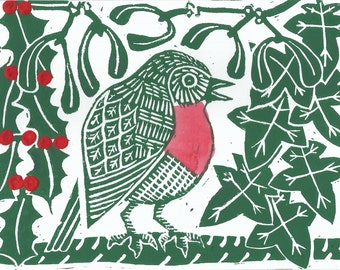 Winter Robin linocut hand printed card