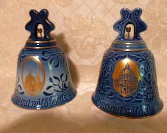 Denmark Porcelain Large Bells Roskilde Cathedral And Saint Peters Church Rome Italy B & G Copenhagen Porcelain 1974-75