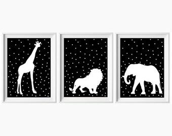 Nursery Decor, Illustration, Safari Set, Monochrome,  Nursery Printable, Wall Art, Baby, Gender Neutral, Nursery Art, Downloadable Art