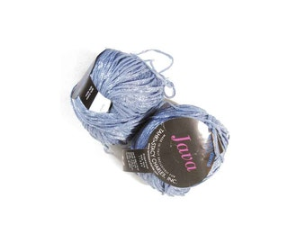 Tahki Java Italian Yarn, 2 Balls, Blue with Sparkle, Color No. 007, Dye Lot 064, Cotton Nylon Blend , 50 gs, 1.75 oz., 98 yards (90m)