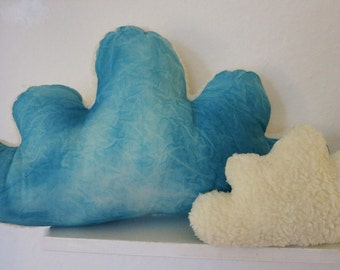 Cloud pillow, fluffy cloud hand dyed