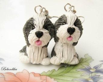 Bearded collie earrings
