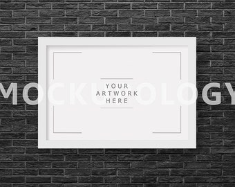 8x12 horizontal digital white frame mockup on black brick wall background styled photography poster mockup instant download