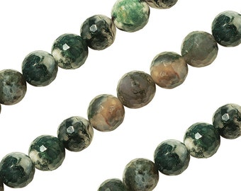 15 1/2 IN Strand 8 mm Moss Agate Round Faceted Gemstone Beads (MSARNF0008)