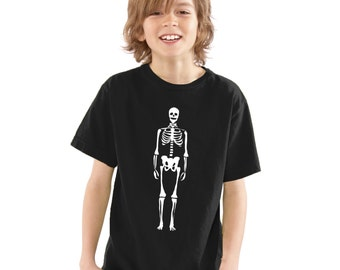 Kids Skeleton with Bow Tie Glow In The Dark T-Shirt Black Boys / Girls Childrens