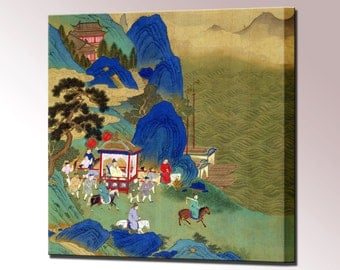 Chinese Emperor Canvas Wall Art Print Ch'in Wang Ti Travelling Palanquin Framed Ready Hang decor