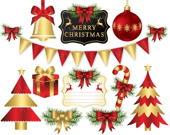 Christmas Clipart, Red and Gold Christmas Clip art, Christmas Digital Clipart, Christmas Ornament, Holiday Clipart, Christams Tree Clipart