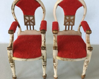 Ideal Petite Princess Red Velour Hostess Diningroom Chairs-vintage Dollhouse Furniture 1:16