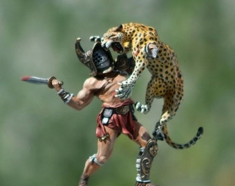 Lead toy soldier,miniature figure,gladiator with leopard,collectable item,gift idea