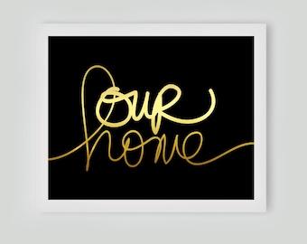 Our Home Framed Gold leaf Print