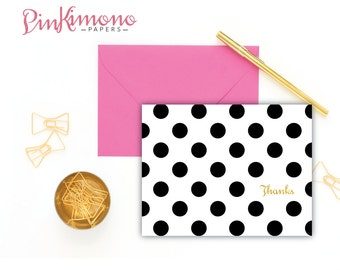 8 Polka Dot Thank You Note Cards In English, French & Spanish - Dotted Greetings