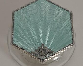Fabulous Art Deco Vanity Box - Guilloche Enamel and Marcasite - 1929