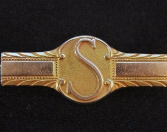 "Estate 10K Yellow Gold L. G. Balfour S Initial Bar Pin 3.9 Grams 1.162"" Long"