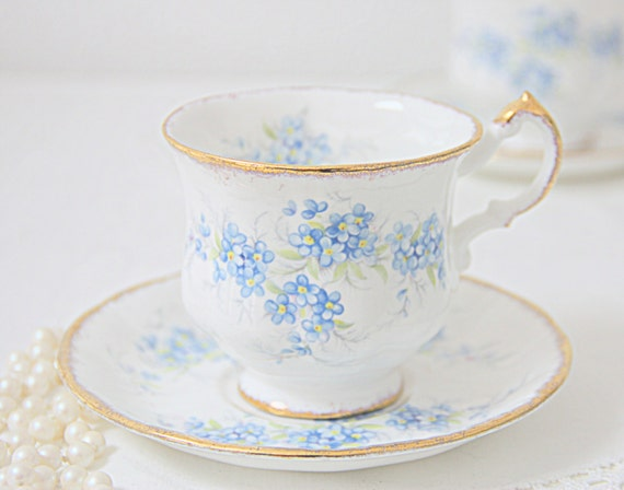 Vintage Paragon 'Remember Me' Fine Bone China Lady Size Cup and Saucer, Forget-Me-Not Decor, England