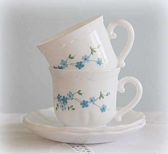 Set of Two Vintage Arcopal France Pyrex Cup and Saucers, Milk Glass with Blue Myosotis Design