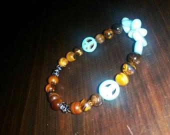 Handmade, Stackable, natural stone bracelet.