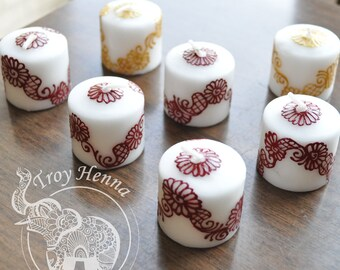 Votive Henna Candles - Hand-Painted Unscented
