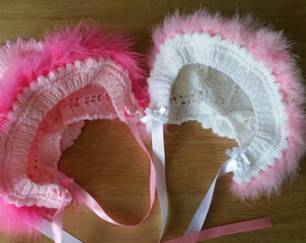 Baby Girl Knitted Hat with Marabou Trim