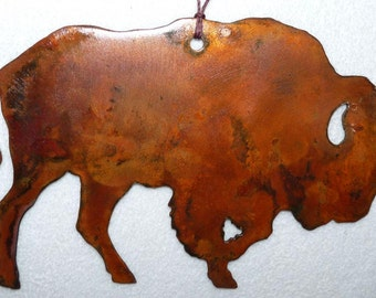 NEW Copper Metal Bison Buffalo Wildlife Western Christmas Ornament Decoration