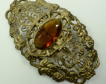 1920s  Ornate Brass Sash Pin with Center Glass Stone
