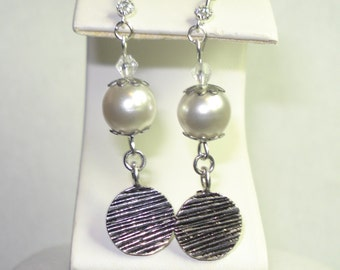 Faux Pearl Dangle Earrings with Textured Round Disc