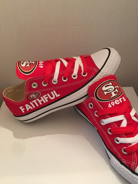san francisco 49ers converses tennis shoes by sportshoequeen