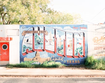 Greetings from Austin Postcard Mural Print Photo captured on 120mm FILM! Austin, Texas, Mural, Wall Art, Architecture, Photograph